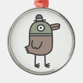 Weird Duck Silver-Colored Round Decoration