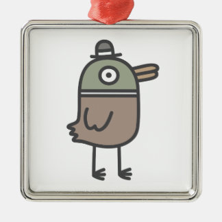 Weird Duck Silver-Colored Square Decoration
