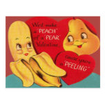 Weird Funny Banana Pear Appealing Peel Valentine Post Card