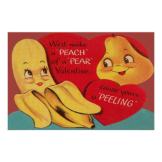 Weird Funny Banana Pear Appealing Peel Valentine Poster