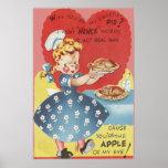Weird Funny Mince Apple Pie Waitress Valentine Poster
