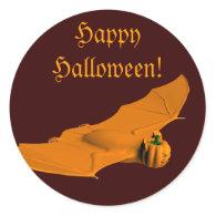 Weird Halloween Bat Round Sticker
