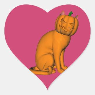 Weird Halloween Cat Heart Sticker