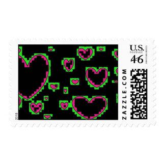 weird hearts postage stamp