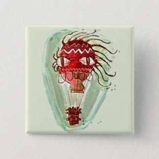 weird hot air baloon cartoon style illustration pinback button