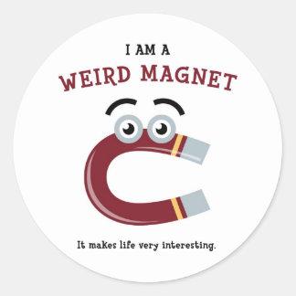 Weird Magnet Classic Round Sticker