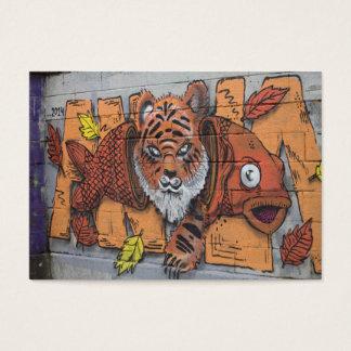 Weird Orange Tiger Fish Graffiti Business Card