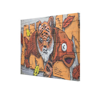 Weird Orange Tiger Fish Graffiti Canvas Print