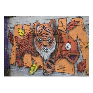 Weird Orange Tiger Fish Graffiti Large Business Card