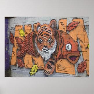 Weird Orange Tiger Fish Graffiti Poster