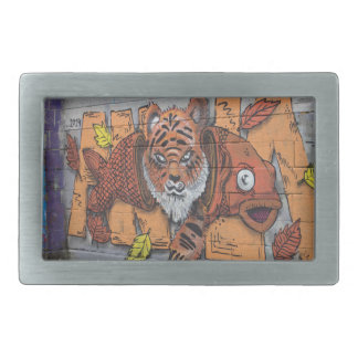 Weird Orange Tiger Fish Graffiti Rectangular Belt Buckle