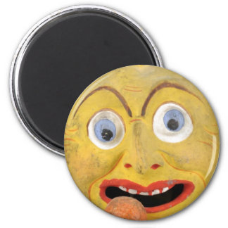 Weird Painted Dirty Face Vintage Papier Mache Toy 2 Inch Round Magnet