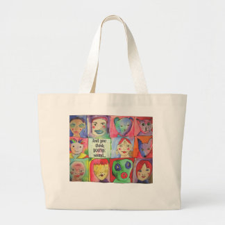 Weird People Graphic Large Tote Bag
