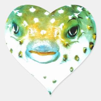 Weird Psycho Fish Graphic Photo Image Heart Sticker