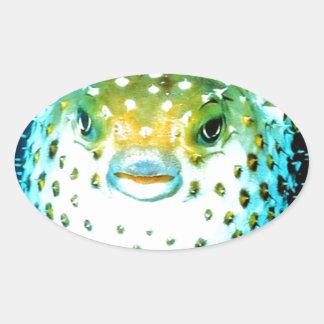 Weird Psycho Fish Graphic Photo Image Oval Sticker