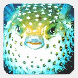 Weird Psycho Fish Graphic Photo Image Square Sticker