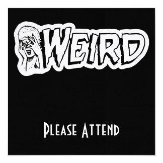 WEIRD - Retro Monster Girl Black & White 5.25x5.25 Square Paper Invitation Card