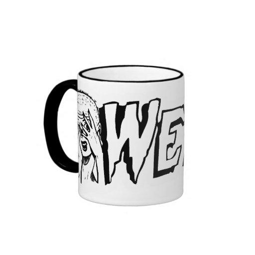 WEIRD - Retro Monster Girl Black & White Ringer Coffee Mug