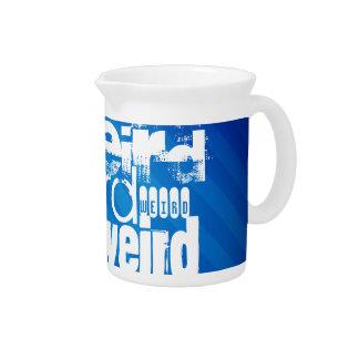 Weird; Royal Blue Stripes Beverage Pitcher