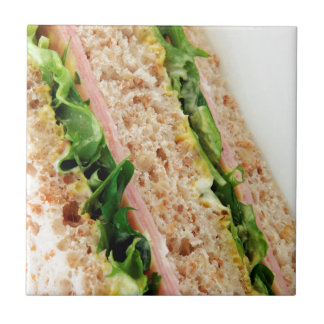 Weird Sandwich Print - Bread and Lettuce Ceramic Tile