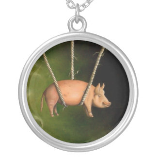 Weird Science Pig detail Round Pendant Necklace