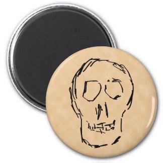 Weird Skull. Black. Sketch. 2 Inch Round Magnet