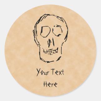 Weird Skull. Black. Sketch. Classic Round Sticker