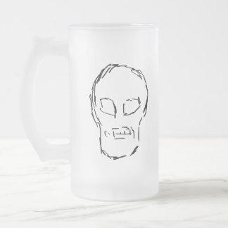 Weird Skull. Black. Sketch. Frosted Glass Beer Mug