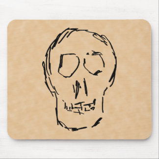 Weird Skull. Black. Sketch. Mouse Pad