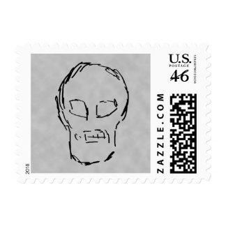 Weird Skull. Black. Sketch. Stamp