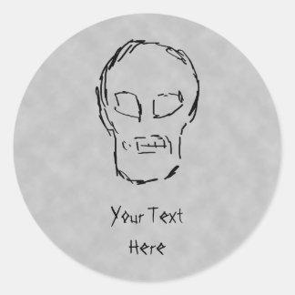Weird Skull. Black. Sketch. Round Stickers