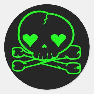 Weird Skull Goth Kawaii Style BLACK GREEN Classic Round Sticker