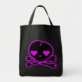 Weird Skull Goth Kawaii Style BLACK PINK Canvas Bag