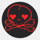 Weird Skull Goth Kawaii Style BLACK RED Classic Round Sticker