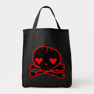 Weird Skull Goth Kawaii Style BLACK RED Tote Bag