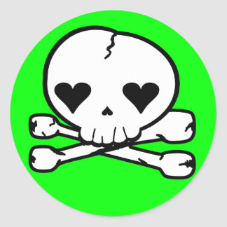 Weird Skull Goth Kawaii Style Classic Round Sticker