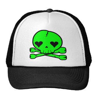 Weird Skull Goth Kawaii Style GREEN Trucker Hat