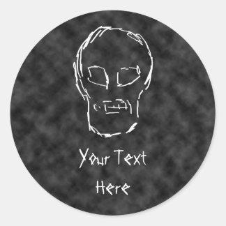 Weird Skull. White. Sketch. Classic Round Sticker