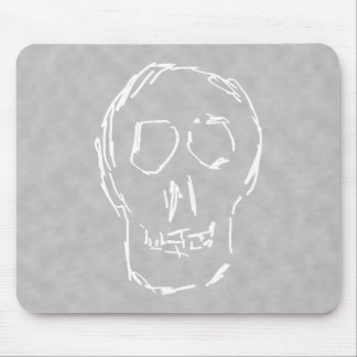 Weird Skull. White. Sketch. Mouse Pad