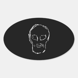 Weird Skull. White. Sketch. Oval Sticker