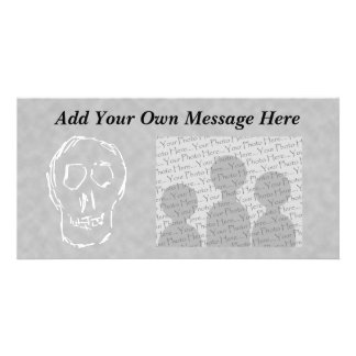 Weird Skull. White. Sketch. Photo Card Template