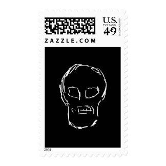 Weird Skull. White. Sketch. Postage Stamps
