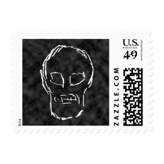 Weird Skull. White. Sketch. Postage Stamps