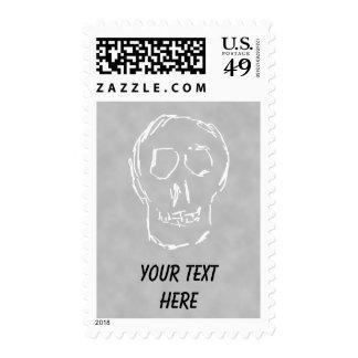 Weird Skull. White. Sketch. Postage Stamp