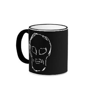 Weird Skull. White. Sketch. Ringer Mug