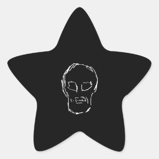 Weird Skull. White. Sketch. Star Sticker