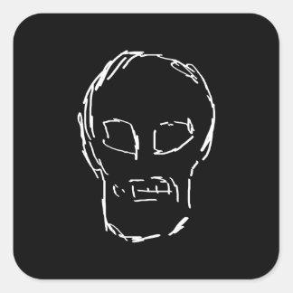 Weird Skull. White. Sketch. Square Sticker