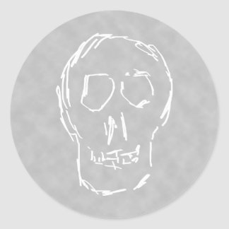 Weird Skull. White. Sketch. Round Sticker