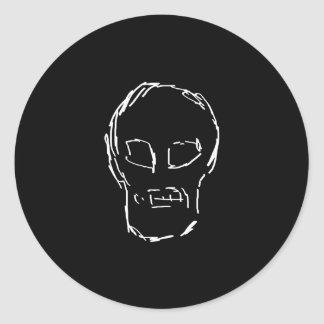Weird Skull. White. Sketch. Sticker