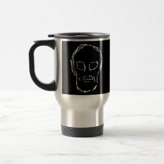 Weird Skull. White. Sketch. Travel Mug